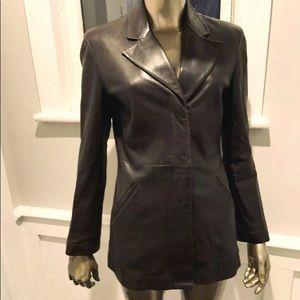 GIORGIO ARMANI Brown Leather Blazer Jacket 42/8